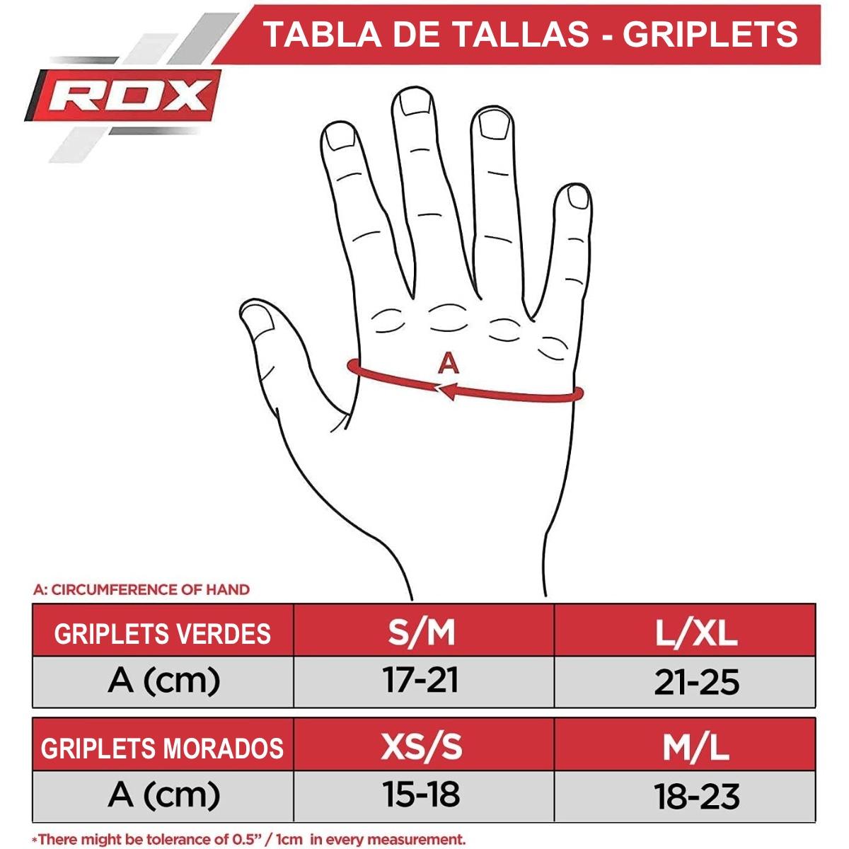 Tabla de tallas - Griplets Rdx
