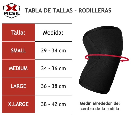Tabla de tallas Rodilleras Picsil