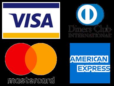 Papa aqui con Visa, Mastercard, amex y Diners