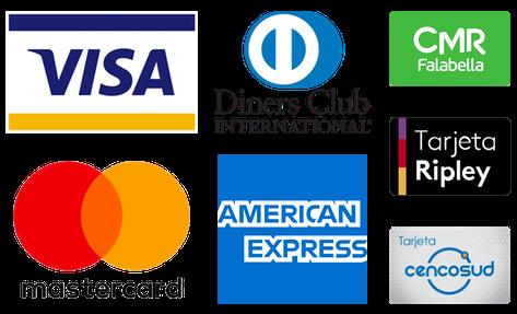 Paga aqui con Visa, Mastercard, Amex y Diners